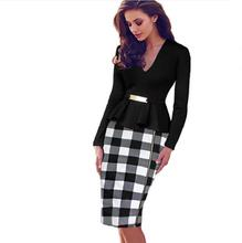 Slim Work Plaid dresses New Womens Vintage Elegant Belted Tartan Peplum Ruched Tunic Work Party Cap Sleeve Bodycon Sheath Dress