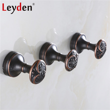 Leyden Black ORB Vintage Robe Hooks Round Hanging Hook Wall Mounted Clothes Hook Copper Metal Coat Hooks Bathroom Accessories