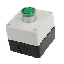 Plastic Casing Green Round Cap Push Button Switch Control Box AC 240V 3A