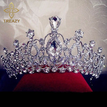 Buy TREAZY Gorgeous Sparkling Silver Plated Crystal Big Wedding Crown Headband Bridal Tiara Party Show Pageant Hair Accessories for $7.47 in AliExpress store