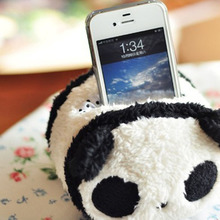 Black Cute Square Panda Plush Toys Phone Seat Cell Phone Holder Smartphone Durable Desktop Stand Hot Selling(China)
