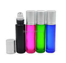 4pcs/lot 10ml 1/3OZ  Blue/Green/Pink/Black Mixed ROLL ON GLASS BOTTLE ESSENTIAL OIL Scent Perfume BOTTLE Roller Ball ALU CAP