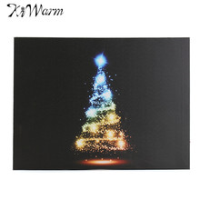 Colorful Christmas Tree Mini LED Light Luminous Canvas Painting Art Picture Gifts Home Living Room Hotel Wall Decoration 30*40cm(China)