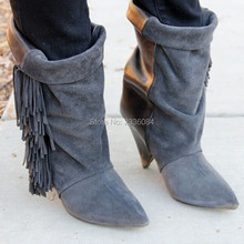 Hot Fashion Brand Fringe Ankle Boots Suede Tassel High Heels Women Boots Cool Ladies Fall Winter Booties Shoes Woman Botas Mujer