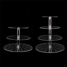 Acrylic transparent 3 4 tier birthday party wedding cake stand cupcake stands for baking cakes tools rack decor round pan