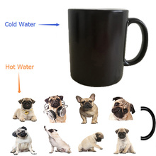 bulldog dogs cups puppy dogs mugs heat transfer change color Heat reveal mugs temperature color change travel heating(China)