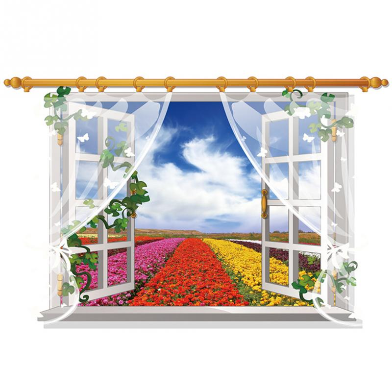 HTB1oHWOhx1YBuNjy1zcxh6NcXXaC - 3D Window View Nature Landscape Wall Sticker  For Living Room