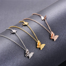 Martick 316L Stainless Steel Gold-color Butterfly Pendant Necklace Link Chain Scrub Necklace For Women P50(China)