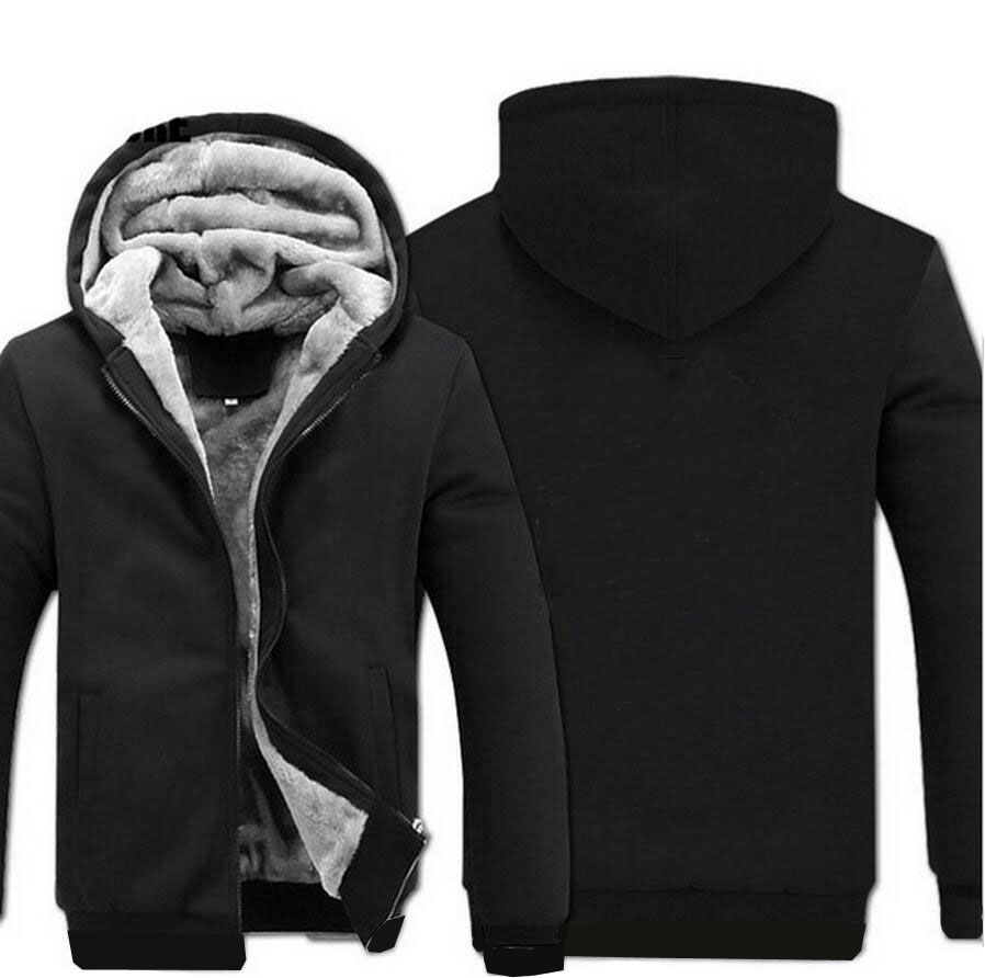 A0101 Brand Solid Color Hoodie Men Zipper Hooded Sweatshirt Coat Winter Thick Fleece Warm Jacket Plus Size 5XL Black Streetwear