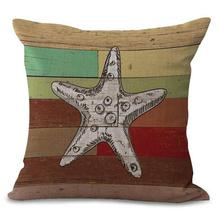 Factory Direct Supply 2017 New Mediterranean Style Pillow Home Decor Sofa Chair Cushion Shell Starfish Seahorse Pattern