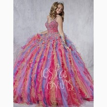 Beautiful Hot Pink Rainbow Ball Gowns Quinceanera Dresses 2016 Colorful Beaded Double V Neck Spaghetti Straps Debutante Gown