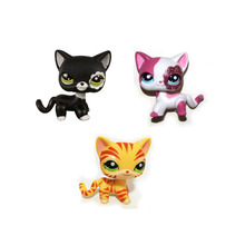 Pet Shop Orange Striped & Sparkle Pink & Black Short Hair Cat FREE SHIPPING(China)