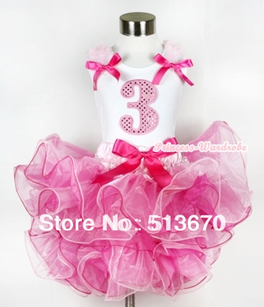 Hot Light Pink 8 Layered Pettiskirt Pink Sparkle Number Ruffle Pink Bow Top MAMG584<br>