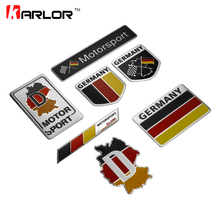 Fashion Germany Flag Collection Deutsch Quality 3D Aluminum Car Auto Badge Emblem 3M Sticker for VW Audi Mercedes Car Styling(China)