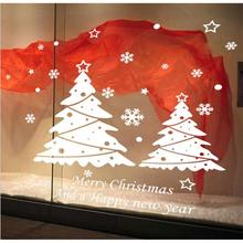 Merry Christmas Xmas PVC Removable Display Window Showcase Decor Wall Stickers White Christmas tree wallpaper papel parede