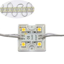 WholeSale 100pcs  DC 12V 4 Leds 5050 SMD Warm White Waterproof LED Module Light Lamp For Advertising Free Shipping