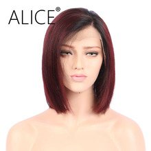 ALICE Glueless Short Red Ombre Straight Lace Front Bob Human Hair Wigs Peruvian Remy Wigs For Black Women No Tangle No Shedding(China)