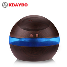 USB Ultrasonic Humidifier, 300ml Aroma Diffuser Essential Oil Diffuser Aromatherapy mist maker with Blue LED Light (Dark wood)(China)
