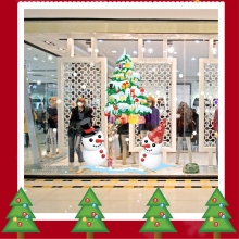 New 50*70CM Window Display White Snowman Color Christmas Tree Wall Sticker Christmas Decorations For Home Poster Home Decor Kids