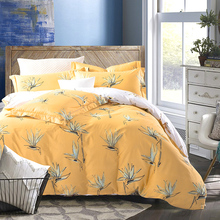Floral Dispersed Printing Orange Bedding Sets Queen - King Size 100% Cotton Fabric Flat Sheets Pillowcase Duvet Cover Set 4pcs(China)