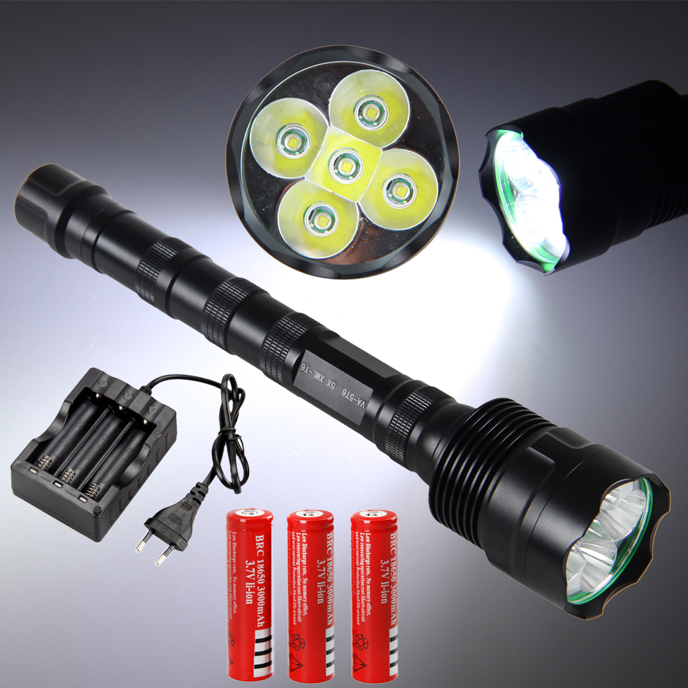 Tactical 10000 Lm 5x XML T6 LED Hunting Flashlight Torch 5 Modes With 18650 Battery And Charger<br>