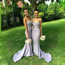 Sexy Mermaid Maid Of Honor Dress for Wedding Guests Lace grey bridesmaid dresses sash long prom party dresses 2016 with flowers