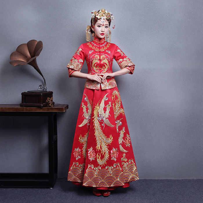 Bride Fall Clothes Vintage Chinese Style Wedding Dress Retro Toast Clothing Embroidery Phoenix Gown Marriage Cheongsam Qipao