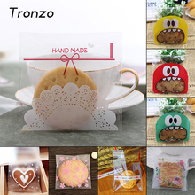 Tronzo 100pcs Candy Bag Plastic Frosted Self-adhesive Cookies Cellophane Gift Bags Christmas Wedding Decoration Package 7*7+3CM