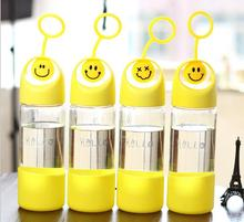 Smile Face Cover Glass Bottle High Quality Student Glass water bottle Handcarry hiking bottle Ice Portable Drinking Water Glass