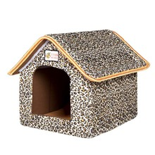 Pet House Foldable Bed With Mat Soft Winter Leopard Dog Puppy Sofa Cushion House Kennel Nest Dog Cat Bed For Small Medium Dogs