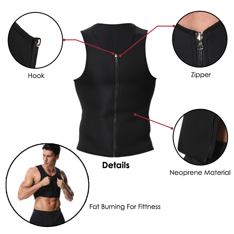 Miss Moly Mens Neoprene Corset Sauna Vest Zipper Sweat Waist Trainer Slimming Thermo Shapewear Body Shaper fajas modeladoras Top 8