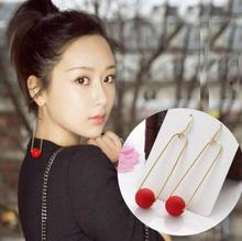 ey097 New Listing marketed fashion Bohemian geometric Round shape red beads female temperament alloy earrings jewelry(China)
