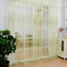 2016 New Wintersweet Flowers Pattern Window Voile Curtains 100 * 200 CM Brief Home Decor Bed Room Tulle Drapes Curtain