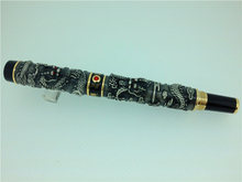 FREE SHIPPING NEW JINHAO GREY ROLLER BALL PEN TWO DRAGON PLAY THE PEARL(China)