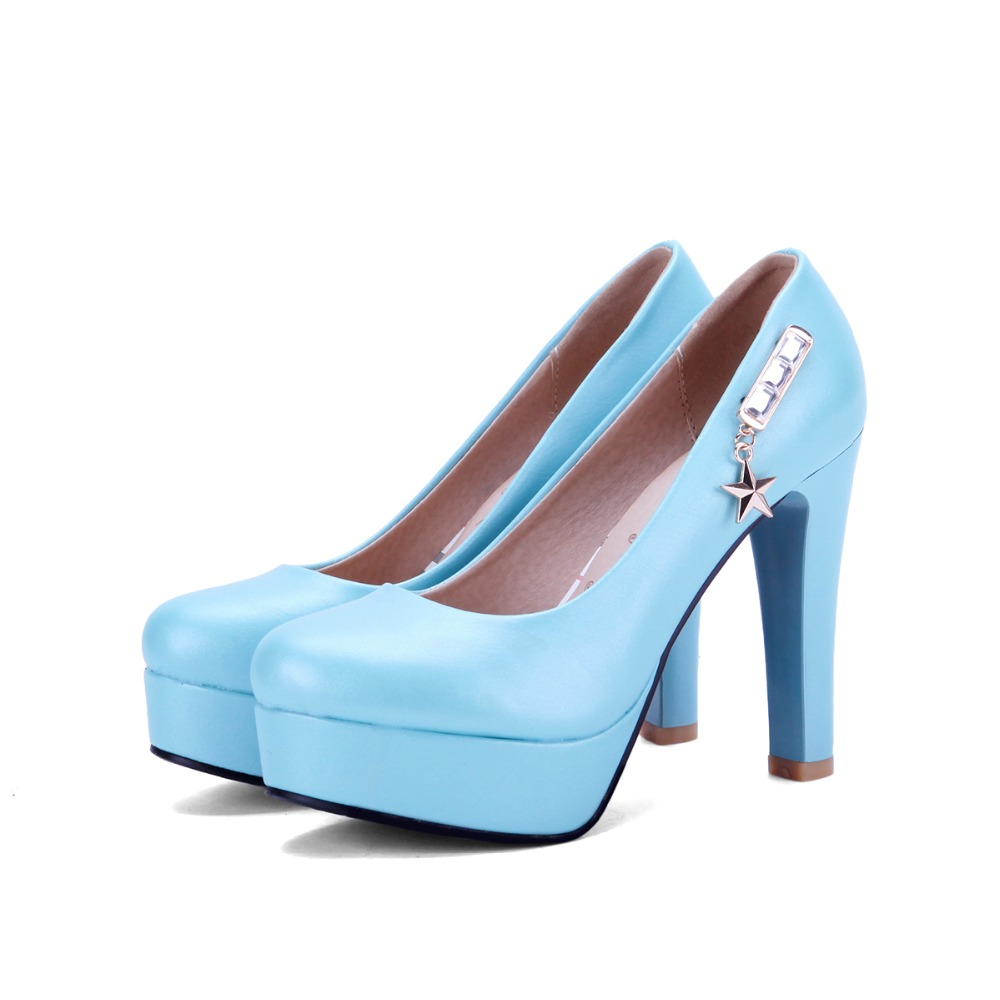 New high heel pumps women white weeding shoes platform women shoes pumps blue high heels ladies elegant evening shoes 2016<br><br>Aliexpress
