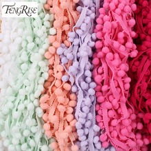 FENGRISE 10 yards 10mm Pom Pom Lace Trim Balls Tassel Fringe Ribbon Colorful Apparel Cord Lace Fabric DIY Craft Sewing Supplies