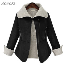 AOWOFS Women Winter Coat lambs wool Suede Leather long sleeve turn-down Collar Thick Warm fashion Outwear Zipper Jacket P465640(China)