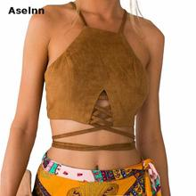 Aselnn Brown Faux Leather Suede Tank Top Sexy Lace Up Camis Women Tops Slim Cami Party Crop Top Fall Vest