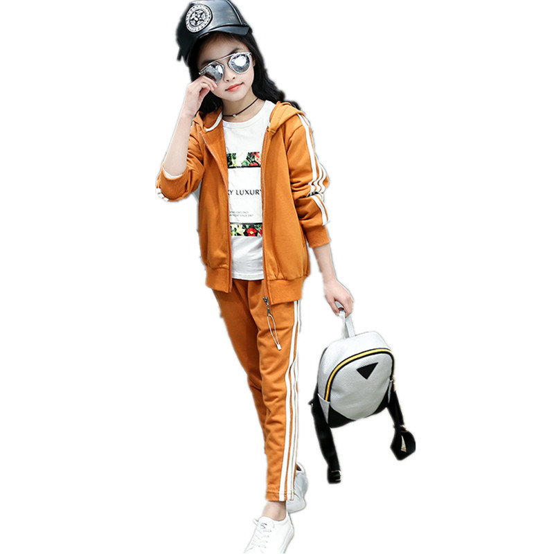 2017 New Fashion Girls Sports Clothing Sets Cotton Striped Clothes Sets For Girl Kids Coats &amp; Trousers Clothes Childrens Sets <br>
