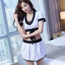 Buy Hot Girls erotic costume Cheerleaders sexy cosplay uniform night club wear black edge white clothes short skirt sexy costume