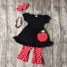 girls summer outfits children back to school clothing girls apple dress with red white polka dot capri  pants with accessories