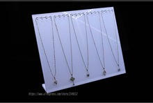 White Acrylic 20 Hooks Necklace Display Rack L Necklace Showing Stand Jewelry Display Shelf Showcase 5mm and 8mm Available 2pcs