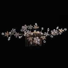 New High Quality Luxury Crystal beads Hairwear for Women Pearls Hair Stick Glass alloy Hairpin Female Jewelry FS067(China)