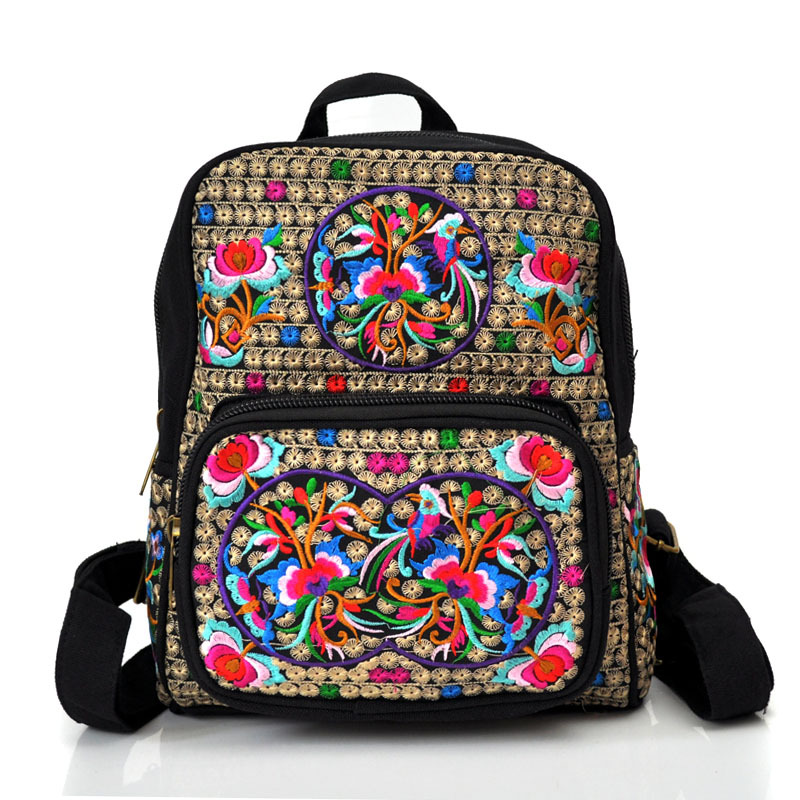new national embroidery canvas bag double shoulder bag embroidered student bookbags school package tourism package wide belt<br><br>Aliexpress