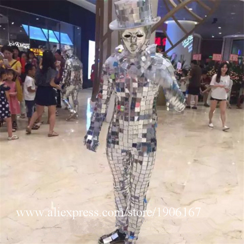 Men Silver Color Catwalk Show Stage wear Ballrooom Costume Mirror Cloth Party Christmas Performance DJ Singer Clothes Suit08
