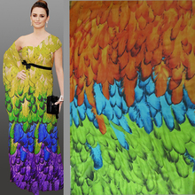 Factory Derect Beach Dress Material Colorful Peacock Feather Print Chiffon Cloth Tissus Meter