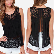 Hot New Women Lady Tees Tops Tanks Summer Sexy Crochet Lace Vest Bottoming Shirt Women Sleeveless Tank Tops 9Z-AA165(China)