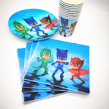 40pcs PJ Masks Disposable Party Tableware 20pcs Napkin +10 cups+10 Paper plate Kids Boy Birthday Party Decoration for 20 kids(China)