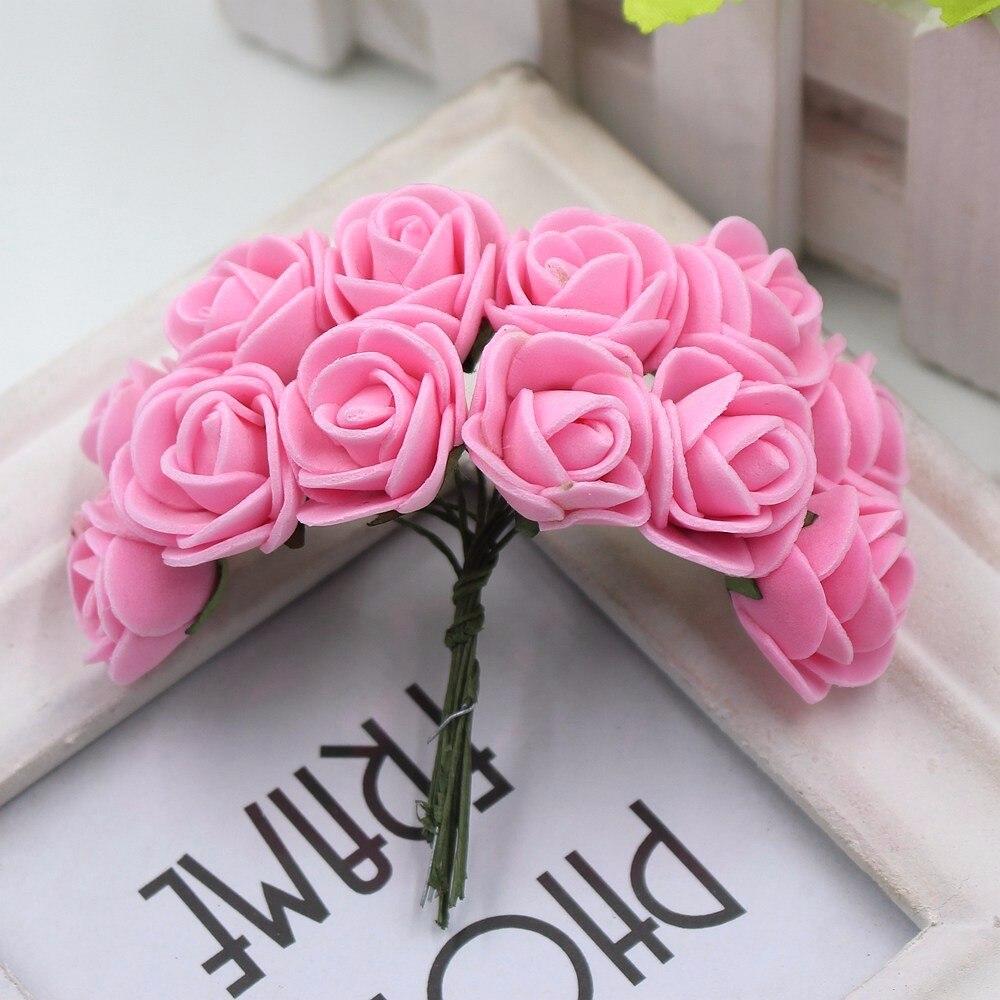 12pcs/lot New Hot 2cm Head Multicolor PE Foam Mini Flower Artificial Rose Flowers Bouquet wedding decorative flowers wreaths 15