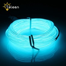 TSLEEN New 2M 3M 5M glowing neon led lights el wire string strip rope tube car dance party decorative line cable light(China)